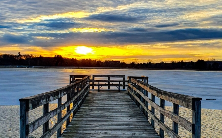 River Sunset - sand, pier, river, sunset, nature, trees, sky, clouds