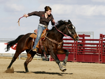 ♥ - Horse, gallop, competition, fence, cowgirl, rodeo
