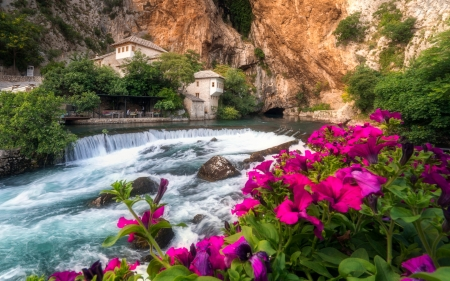 Spring On The River Buna Bosnia Herzegovina - cascades, water, mountain, houses, blossoms, flowers