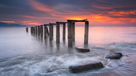 Old Pier in Malaysia - sunset, clouds, sky, sea, colors