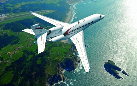 Dassault Falcon 8X - passengers, plane, aircraft, water, commercial, coast