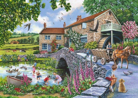 Old mill cottage - ducks, birds, cart, children, horse, trees, artwork, boat, watermill, bridge, flowers, painting, river, nature, dog
