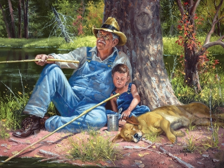 Not bitin' - boy, man, river, trees, artwork, grandpa, dog, fishing, painting