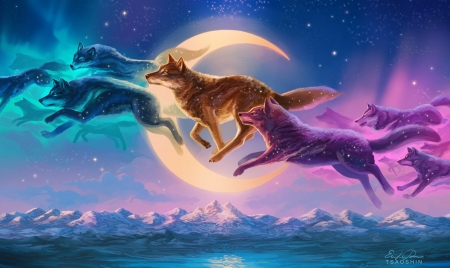 Fantasy Kindred Wolves - wolves, Fantasy, colorful, dreamy, moon, Magical