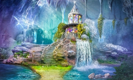 Enchanted Fantasy Land - fantasy land, Enchanted, dreamy, water, magical, waterfall, pastel