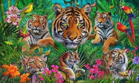 Fantasy Collage of Tigers