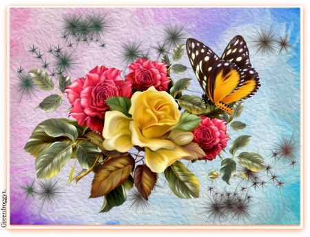 ROSES AND BUTTERFLY - ART, ROSES, ABSTRACT, BUTTERFLY
