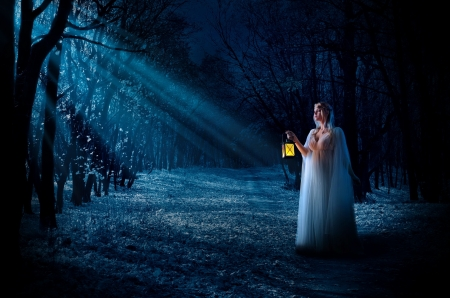 Young elf girl in night forest - fantasy, young, lantern, girl, magic, fairytale, enchanted, forest, elf, night