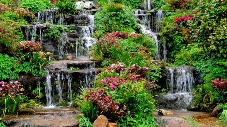 Waterfall cascades - cascades, wildflowers, summer, garden, waterfall, park, beautiful