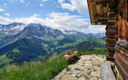 Swiss Alps in Adelboden - Alps, hut, Switzerland, mountains, wooden