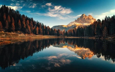 Lago Antorno in the Dolomites, italy - mountains, water, tyrol, clouds, reflections, sky, trees