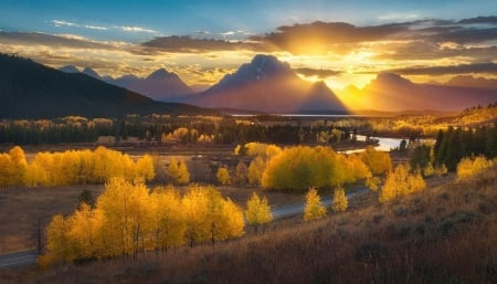 Grand Tetons, Wyoming - sun, autumn, sunset, clouds, snake river, trees, sky, landscape