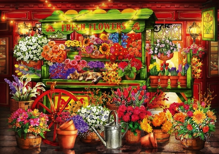 Flower market stall - art, pots, lamps, digital, colors, flowers, blossoms