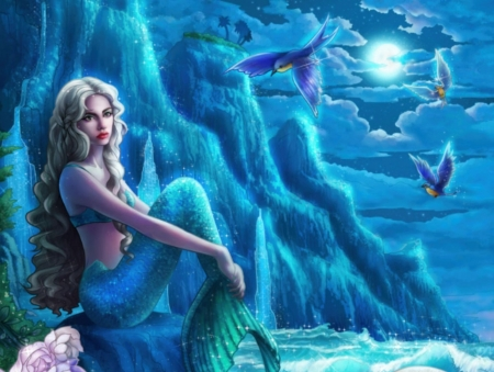 BLUE MOON MERMAID - BLUE, OCEAN, MERMAID, MOON, BIRDS