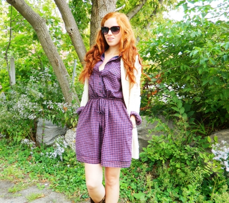 Cowgirl Country Bumpkin - Cowgirl, dress, boots, Country, red hair, trees, rocks, forest, sunglasses, sunshine