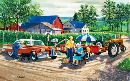 Doc's New Edsel - tractor, house, car, people, road, vintage, barn, artwork, countryside, painting