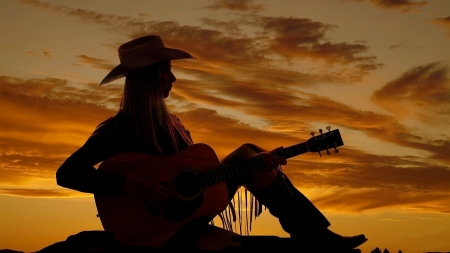 Cowgirl's Song - sunset, clouds, woman, western, hat, Cowgirl, ranch, melody, music, fringe, beautiful, guitar