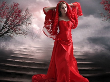 The Lady in Red - red, brunette, dress, model