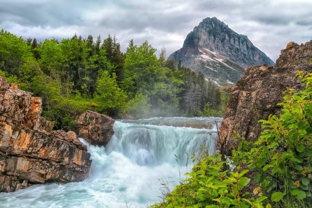 Mountain Waterfall - waterfall, mountain, forest, nature