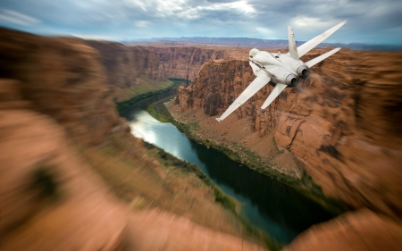 Jetting Through the Grand Canyons - aircraft, usa, canyons, jet