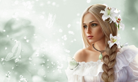 Face of Beauty - Fantasy girl, beauty, Lillies, face, portrait, white, softness, lovely, ethereal, Blonde