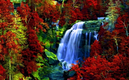 painted waterfall - red, art, painted, waterfall