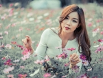 Girl in Cosmos Flowers