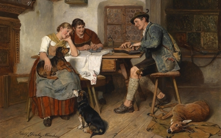 Musical Entertainment - painting, musician, women, animals