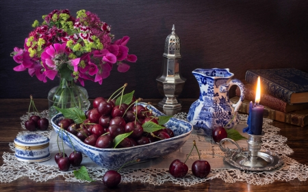 Cherry Still Life - candle, flowers, cherries, books, still life