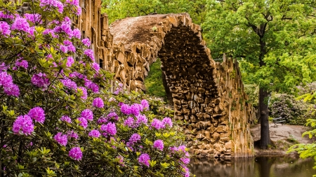 Germany's garden - wildflowers, garden, river, park, Germany, lake, beautiful, trees, stone, bridge