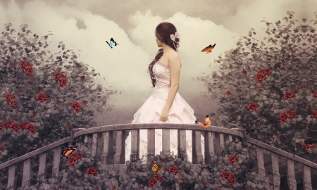 Secret Garden - walking, lady, lovely, dreamy, gown, butterfies, Garden, enchanting, bridge, fantasy girl, beauty, Roses