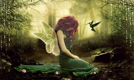 Forest Fairy - Fairy, forest, dreamy, fantasy, green, Enchanting, hummingbird, Wings