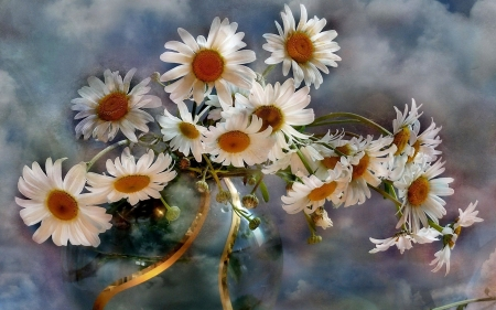 Chamomile Flower Bouquet - bouquet, chamomiles, flowers, vase, buds, clouds, sky