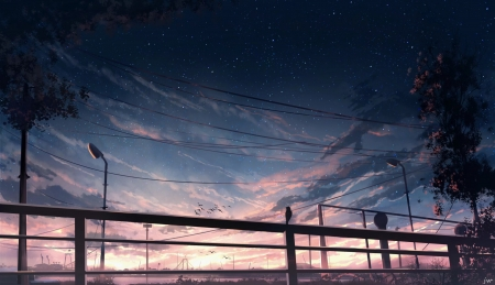 Anime Sunset & Starry Sky