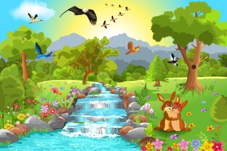 Animals near Water - animals, near, cute, water, wallpaper, childlike, birds