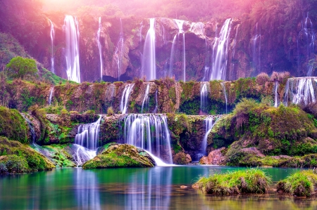 Waterfall cascades - waterfall, beautiful, cascades, lake, rocks