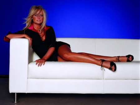 Emma Bunton - dress, legs, model, black, Bunton, Emma, beautiful, sexy, heels, actress, wallpaper, 2020, Emma Bunton, white, sofa, blue
