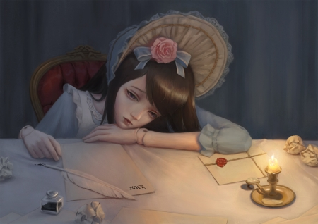 ~Drifting Away~ - Wallaper, Bibido, Candle, Doll, Long Hair, Girl, Letters, Table, Hat, Flower, Chair, Anime, Sad, Beautiful, Feather, Ribbon, Black Hair, Rose, Inkpot, Purple Eyes