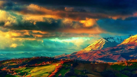 Heavenly Nature - clouds, landscape, mountains, houses, sunset, fields