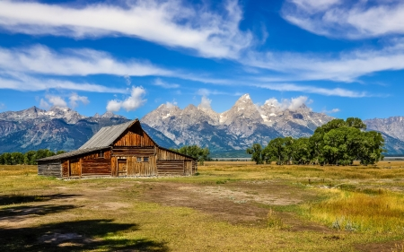 Jackson Hole, Wyoming - landscape, grand tetons, barn, clouds, trees, sky