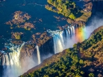 Victoria Falls is on the border of Zimbabwe and Zambia