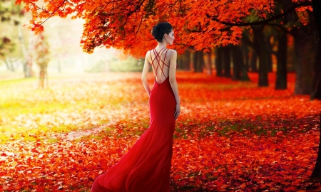 Lady in Red - Trees, Red, Lady, model, gown, Femininity, woman, fashion, Leaves