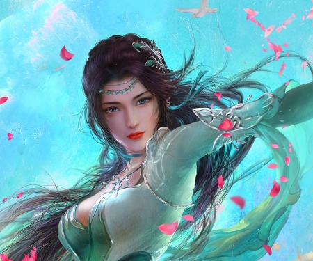 Fantasy girl - yankong bu, frumusete, fantasy, luminos, petals, pink, blue, gorgeous, girl