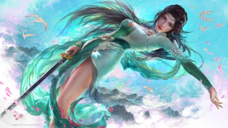 Fantasy girl - petals, sword, gorgeous, yankong bu, super, frumusete, luminos, yankongbu, fantasy, girl, pink, blue