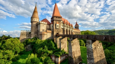 Corvin Castle, Romania - forest, bridge, castle, romania