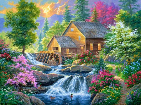 Summertime Mill - forest, watermill, painting, river, cascade, trees, artwork