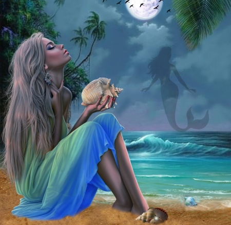 SIREN SONG - SEASHELL, MERMAID, FEMALE, BEACH, MOON, WAVES, OCEAN