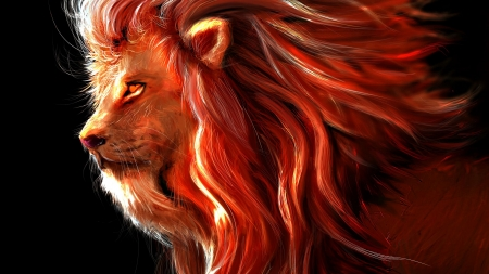 Lion - orange, lion, art, red, fantasy, leu, michel duss