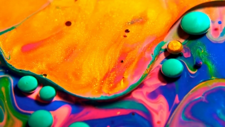 Abstract - dot, water, orange, oil, green, allec gomes, blue, colorful, abstract, texture