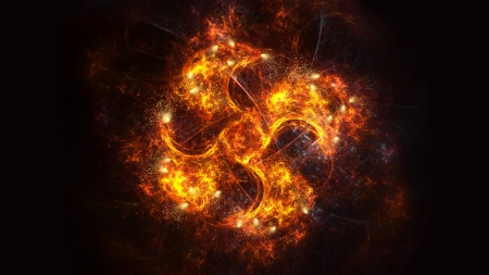 Fire Spinning Fan - fire, spinning fan, flames, abstract, 3d abstract